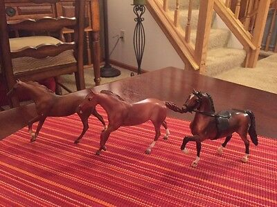 Lot of 3 Breyer Horses Little Bits Thoroughbreds & Morgan Stallion