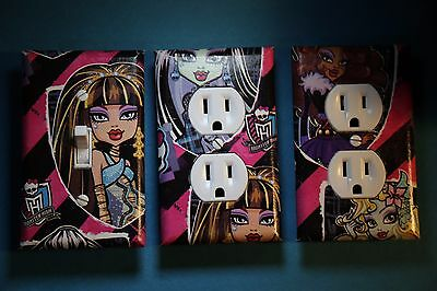 Monster High 3 pc Set Light Switch Cover girls princess room decor Frankie Cleo