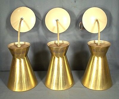 Set Of 3 Mid Century Modern Cone Head Hourglass Ceiling Lights With Canopies