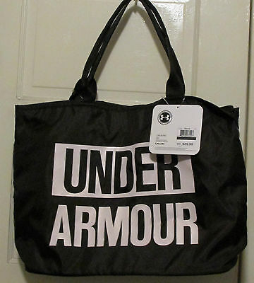 """Under Armour Tote Bag Womens Stylish Back & Whitel bag t4""""x17  has small w/it"""
