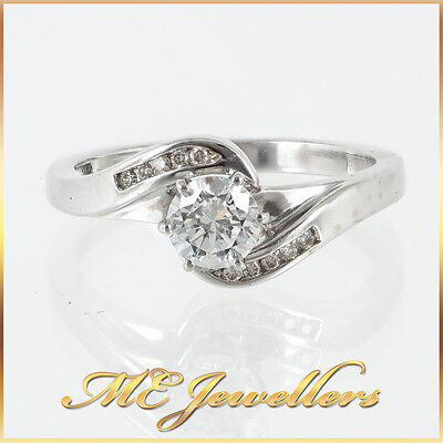 Swirl Solitaire Engagement Ring With Accents 0.50ct Diamond 18k White Gold