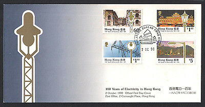 (FDCHK039) HONG KONG 1990 100 Years Electricity in HK First Day Cover FDC