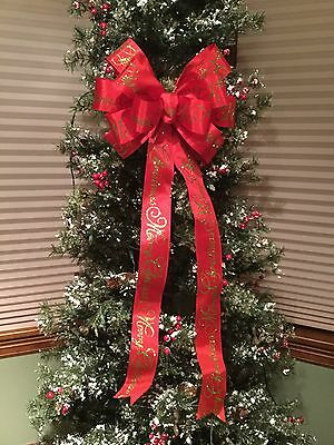 "Merry Christmas Lime Glitter Script 12"" Bow for Tree Topper Post Mantle Wreath"