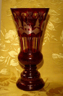 """Bohemian Crystal Glass Ruby Red Vase 10"""""""