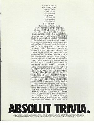 Absolut Trivia Ad - New out of Magazine