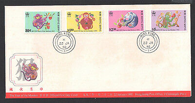 (FDCHK034) HONG KONG 1992 Year of the Monkey First Day Cover FDC
