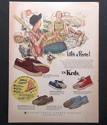 1953 KEDS Footwear Sneakers Shoes Advertisement Color AD Family Picnic Baseball