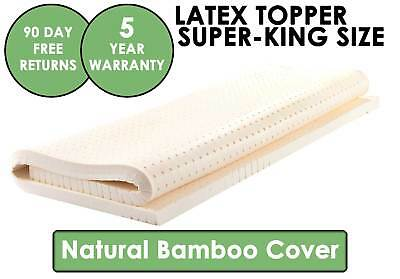 Natural LATEX Mattress Topper – BAMBOO Fabric Cover – SUPER KING Size