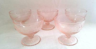 Hazel - Atlas FLORENTINE POPPY NO. 1 Pink Depression Glass 3 oz. Sherbets MINT
