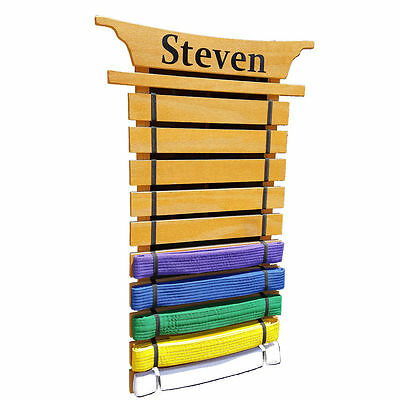 Personalized Karate Belt Holder - Asian Top 10 Lev. - Martial arts belt Display