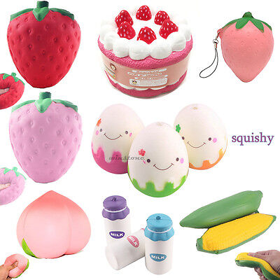 Squeeze Jumbo Stress Stretch Squishy Strawberry Cream Scented Slow Rising Toy