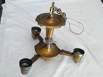 VTG ANTIQUE ART DECO ORNATE FAN STYLE 3 ARM CHANDELIER BRASS FINISH Light