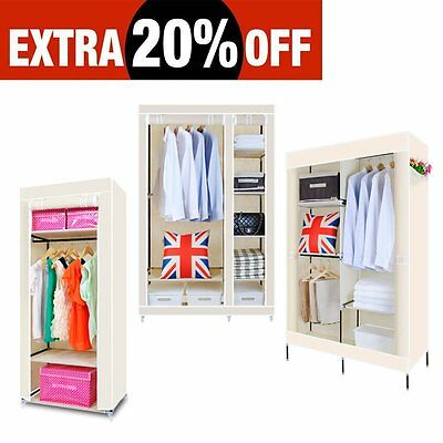 Single Double Canvas Wardrobe With Hanging Rail Home Furniture Storage Beige