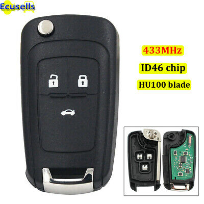 New Remote Key Fob 3 Button 433MHz ID46 Chip for 2010-2015 Chevrolet Cruze Uncut