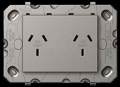 HPM ARTEOR DOUBLE SWITCH Powerpoint 240V SLIM 113x77x28mm-Magnesium GREY