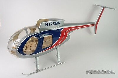 Speed BDY-HK6/50 FRP Hughe 500 Helicopter Fuselage for TREX 500 (Silver/Blue/Red