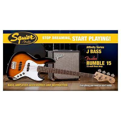 Squier Affinity Jazz Bass with Fender Rumble 15 Amplifier Package Brown Sunburst