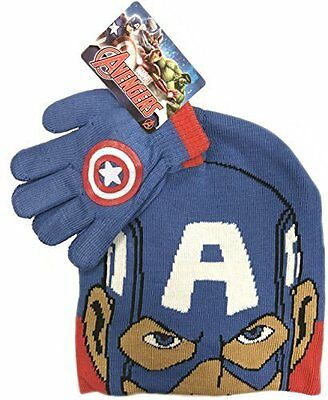 Official Licensed Captain American Marvel Beanie Hat & Glove Set Age 3-6 Year