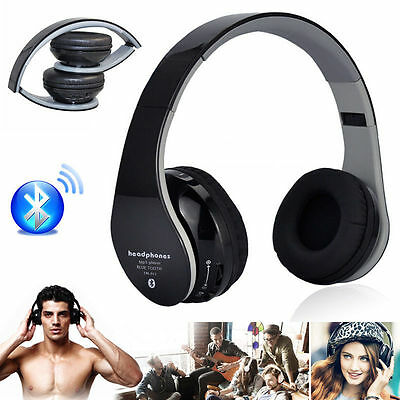 Black Foldable Wireless Bluetooth Stereo Headsets Headphones MIC For iPhone 7/6s
