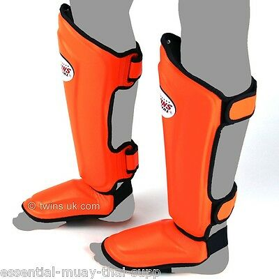 TWINS SPECIALS SHIN GUARDS - NEW STYLE / DOUBLE PADDED - SGMC-10s - ORANGE