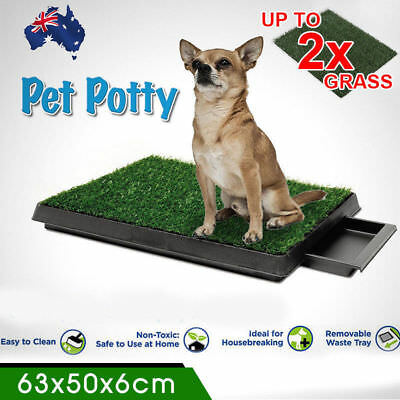 Indoor Dog Pet Potty Training Portable Toilet Loo Pad Tray With 1/2/4 Grass Mat