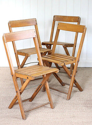 Vintage Industrial Set of 4 Wooden Folding Bistro Chairs