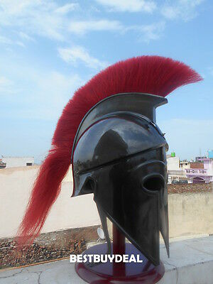 New Black Finish Corinthian Armour Nautical Red Plume Warrior Helmet