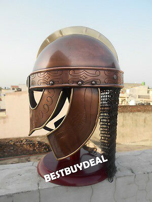 VALSGRADE KNIGHT HELMET COPPER FINISH 7th CENTURY WARRIOR REPLICA W/CHAINMAIL