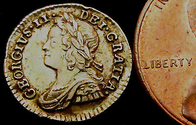 S340: 1743 George II Silver Penny, very nice grade - yr of The Treaty of Worms