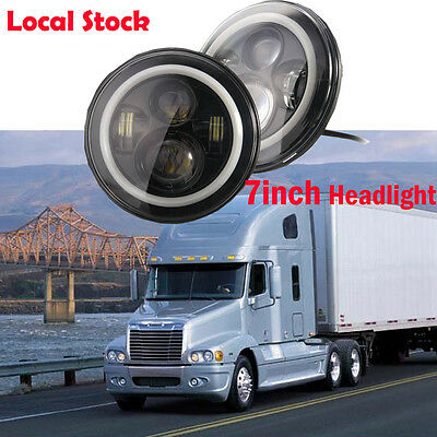 """2x 7"""" inch LED Projector Headlight Halo For Freightliner Century Pre 2005 Model"""