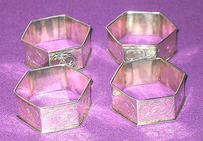 Vintage 1990 Set Of 4 Sterling Silver Hexagon Fully Hallmarked  Napkin Rings