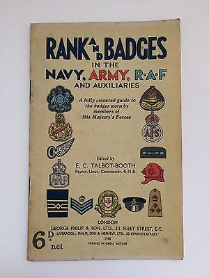 VTG WWII 1940 Booklet Rank & Badges In The Navy, Army, RAF & Auxiliaries