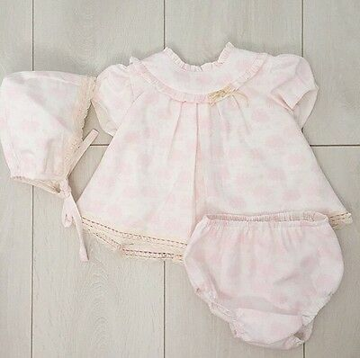 Spanish baby girl dress knickers and bonnet set 3m 3 months