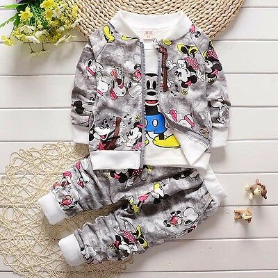 NEW!Boy MICKEY 3 Pcs clothing set outfit tracksuit(top+jacket+pants) 3-4 years