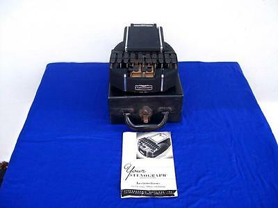 Vintage Stenograph Short Hand Machine Court Reporting With Case & Instructions