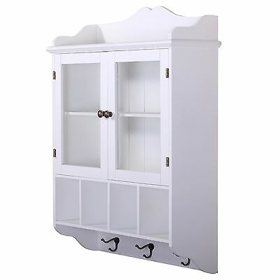 """KITCHEN WALL CABINET """"LOTTA""""   white, glass door   shabby chic, country style"""