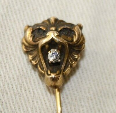 Beautiful Antique 14K Gold Lion Head with Diamond in Mouth Stick Pin