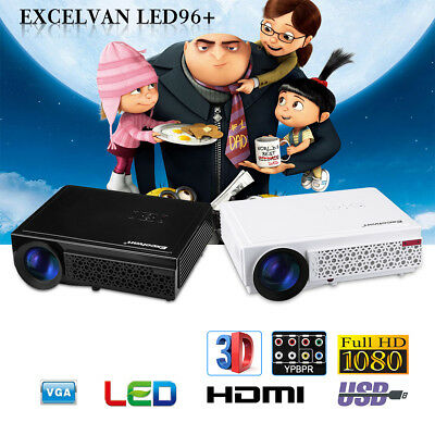 Mini HD 1080P Projector Excelvan Home Cinema AV/USB/VGA/HDMI/TF-card 1200 Lumens