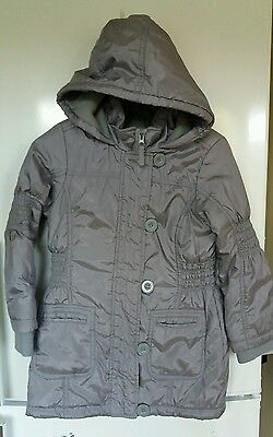 marks and spencer girls silver long jacket 5-6 years good condition