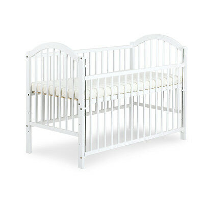 HIGH QUALITY BABY WHITE DROP SIDE WOODEN COT WITH FREE MATTRESS SIZE 120x60cm