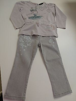 M&S Autograph Girls 2piece Outfit Top & Jeans Set - Age 2-3 years