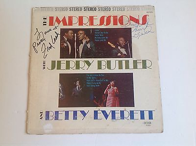 THE IMPRESSIONS AUTOGRAPHED SIGNED LP Record Album, Curtis Mayfield