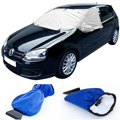 Car Windscreen Frost Ice Snow Protection Cover & Insulated Glove Ice Scraper Kit
