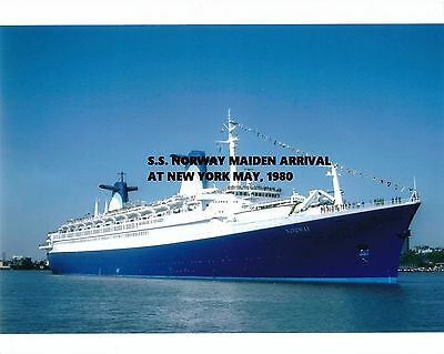 SS NORWAY OCEAN LINER maiden arrival photo New York City Ship Pier NYC