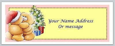 30 Personalized Return Address Labels Christmas bears Buy 3 get 1 free (c4)