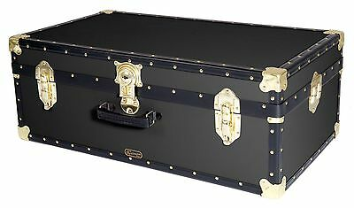 BLACK Traditional British Mossman Made Vintage Classic Car Luggage Storage Trunk