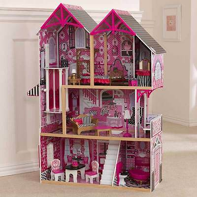 Pink & Black Dollhouse with Furniture Monster High Barbie Doll Playset House