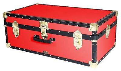RED Traditional British Mossman Made Vintage Classic Car Luggage Storage Trunk