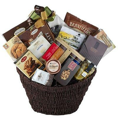 Gourmet Gift Basket With Olives Cookies Chocolate Brie Nuts