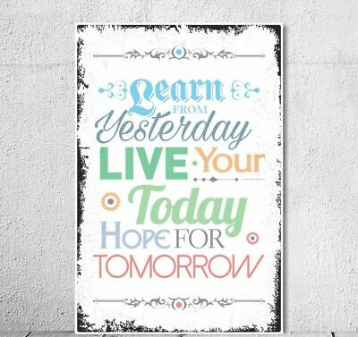 "Schild Vintage Shabby Holzschild ""Learn from Yesterday"" Spruch Motivation"